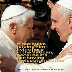 Pope Francis welcomed retired Pope Benedict XVI during a special encounter with…