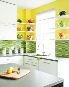 Green And Yellow Kitchen Decor With Sink And White Cabinet. This picture is one of many ideas on 30 green and yellow kitchen ideas. Yellow Kitchen Designs, Yellow Kitchen Walls, Green Kitchen Decor, Kitchen Wall Colors, Kitchen Paint, Modern Kitchen Design, Kitchen Tiles, Kitchen Flooring, New Kitchen