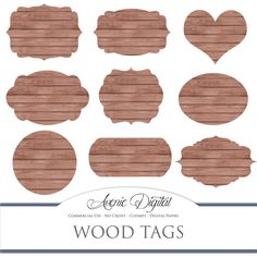 Brown wood tags. Scrapbooking printables, Dark Wood frames, labels for Commercial Use. round, heart, swirl. Instant Download.