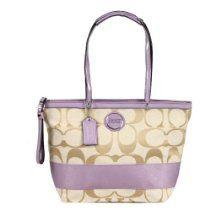 Authentic Coach Signature Stripe Zip Handbag 17433 Light Khaki/Lavender Purple  From Coach  List Price:$268.00  Price:$250.00