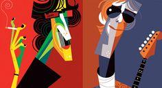 "Algo un poco mas local, ""Charly"" García y ""El Flaco"" Spinetta Create A Comic, El Rock And Roll, Arte Pop, A Comics, Rock Art, The Beatles, Concept Art, Art Photography, Illustration"