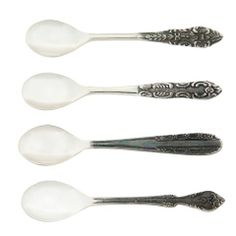 Vintage Set of 4 Tea Party Silverplate Tea Spoons - Casafina