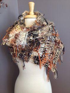Dumpster Diva 'Haystack' Fringed Wide Shawl with cream base - Fringed Knit Shawl - cream, tan, gold, black, copper tones on Etsy, $62.00