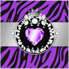purple zebra - purple diamond heart - tiara - uploaded by Lynn White