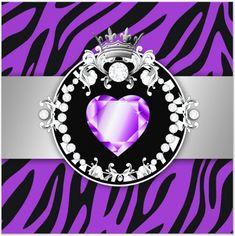 purple zebra - purple diamond heart - tiara - uploaded by Lynn White