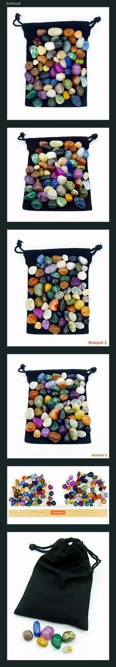 """Edelstein-Set""""Brasilia Mix""""   Halbedelsteine Steine in verschiedenen Größen   Trommelsteine im Stoffbeutel   Ideal für Kinder, zur Schatzsuche, als Heilsteine, zur Dekoration, Edelsteinspiele uvm. - 151a Semi Precious Beads, Random Stuff, Schmuck"""