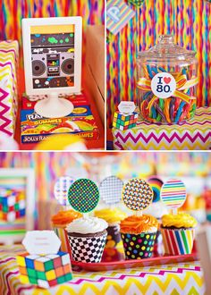 Radical Themed Birthday Party // Hostess with the Mostess® 80s Birthday Parties, 80s Party, 80th Birthday, Birthday Celebration, Party Time, Birthday Ideas, Decade Party, 80s Theme, Skate Party