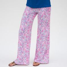 Ladies Custom Print Pink Dancing Dots Palazzo Pant