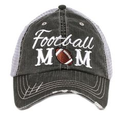 Football Mom distressed trucker hat! Show your support for your favorite football player with this adorable football mom hat. Get yours now at Jourdan's Jewels!