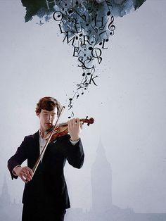 Shelock playing the violin