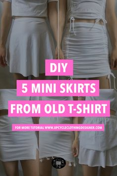 Sewing Clothes, Diy Clothes, Remake Clothes, Old T Shirts, Upcycle T Shirts, How To Make Skirt, Skirt Patterns Sewing, T Shirt Diy, Diy Fashion