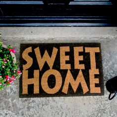 Home Sweet Home Design Coir Doormat Sweet Home Design, Coir Doormat, Door Mats, Coconut, Surface, House Design, Cleaning, Shapes, Printed