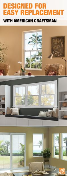 Designed for easy installation, American Craftsman vinyl windows and patio doors fit into your existing frame with minimal disruption to your home, saving you time and money. You'll also save money on your heating and cooling bills with their energy-efficient design. Click to explore these quality vinyl windows and doors at a great value.