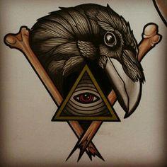 #traditional #tattoo #bird #raven #bones #eye                                                                                                                                                                                 More