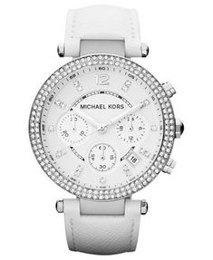 Michael Kors Women's Chronograph Parker White Leather Strap Watch 39mm Mk2277 *** Check this awesome product by going to the link at the image.