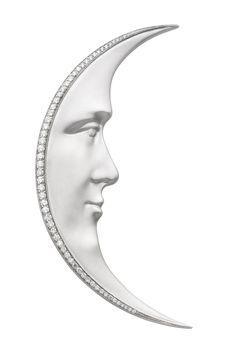 White Moon PB-709. 18 kt white gold pendant brooch with diamonds.  #jewelry #artnouveau  #barcelona