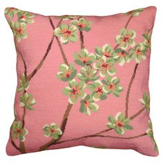 Add a pop of pattern to your sofa, chaise, or settee with this lovely wool pillow, showcasing a floral motif in pink.  Product: ...