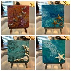 finishing the last of the #minicanvas #acrylics #acrylicpainting #acrylic #painting #artsy #seashells #beach #dragonflies #anchor #garden #sea #ocean #fluidart #fluidpainting #fluid #fluidacrylic #crafts #starfish #mermaids #underthesea #bugs #glitter #sparkley #blue #etsy