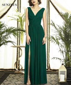 Find More Evening Dresses Information about Emerald Green Dress For Evening Party Elegant A line V Neck Tank Long Chiffon Formal Dress Simple Women Gown SAU286,High Quality dress fashion -winter,China dress protection Suppliers, Cheap dress drops from Suzhou Sanjula Dresses Store on Aliexpress.com