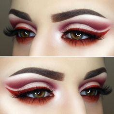 Red cut crease eye look