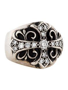 Sterling silver Chrome Hearts ring with diamond adorned cross motif. Ring size 9. <b>Metal:</b> Sterling Silver <b>Finish:</b> Blackened <b>Hallmark:</b> 1992, Sterling, Designer Stamp <b>Hallmark Location:</b> Inner Band