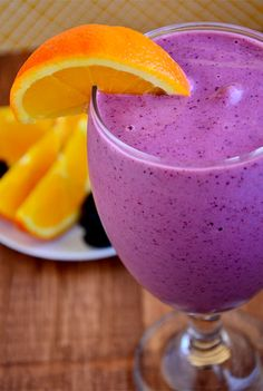 Sunrise Smoothie: 1 cup frozen berries, 1 frozen banana, 1 orange and 4 oz. of Greek yogurt. LOVE MY SMOOTHIES.