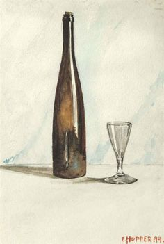 blastedheath: Edward Hopper (American, 1882-1967), Still Life with Wine Bottle and Glass, 1899. Watercolor on paper, 6½ x 4½ in.