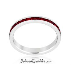 Gail Garnet Red Eternity Stackable Wedding Ring   1 Carat   Crystal » Beloved Sparkles   Fine Cubic Zirconia Jewelry   Crystal Hair Accessories