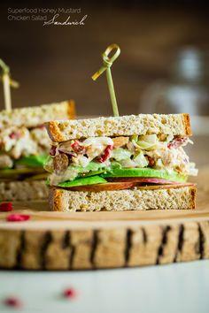 Gluten Free Superfood Greek Yogurt Chicken Salad Sandwich with Honey Mustard…