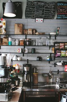 coffee shop / interior / eclectic / industrial put old GE kitchen appliances i. mixer, coffee maker, fan, etc. Bistro Design, Cafe Design, Design Design, Design Trends, My Coffee Shop, Coffee Shop Design, Coffee Cafe, Coffee Shops, Modern Kitchen Design
