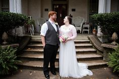 David's Bridal bride Katy in a Swiss dot tulle empire waist Melissa Sweet gown at her vintage Bed & Breakfast elopement