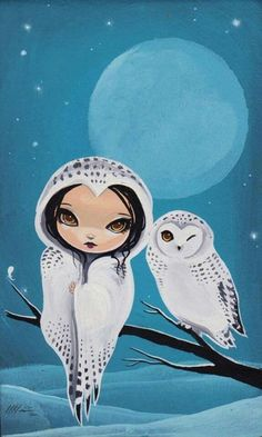 girl and owl by Jasmine Becket-Griffith Buhos y lechuzas dibujos Art And Illustration, Illustrations, Fantasy Kunst, Fantasy Art, Art Magique, Owl Art, Art Graphique, Cute Owl, Fairy Art