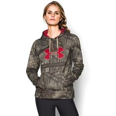 Under Armour Women's UA Camo Big Logo Hoodie ($56) ❤ liked on Polyvore featuring activewear, activewear tops, mossy oak treestand, logo sportswear, under armour and under armour sportswear