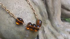 Necklace 1970's Jewelry Gold Tone Faux Amber by TheArtisanal, $16.99