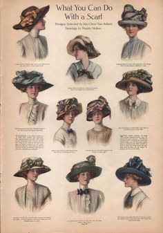Edwardian Vintage Fashion Hat Print from The Ladies Home Journal - Circa 1910