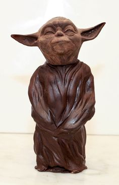 A chocolate sculpture of Yoda, made by master chocolatier Hakan Martensson at his espresso bar in Manhattan, New York City.
