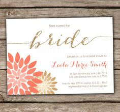 You are purchasing Here comes the bride Bridal Shower Invitations    This is the design customization fee. When purchased alone, you will receive your