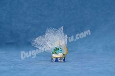 Mavi Çiçekli 4'lü Porselen Nikah Şekeri PON14