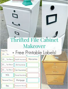 Thrifted File Cabinet Makeover + Free Printable Labels
