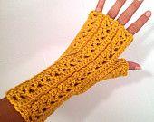 Mostarda de lã peruana Crochet luvas sem dedos
