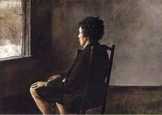 Andrew Wyeth - Up in the studio (1965) [Carolyn - Andrew's sister]