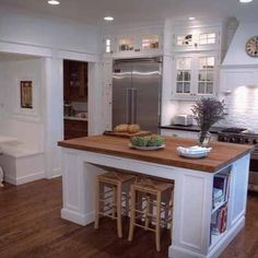 small glass front cabinets over frig Kitchen Styling, Kitchen Decor, Kitchen Ideas, Kitchen Designs, Glass Front Cabinets, White Cabinets, Tall Cabinets, Kitchen Center Island, White Beadboard