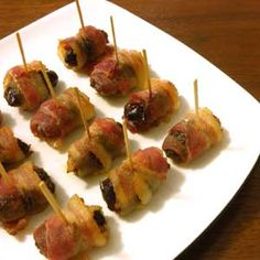 Bacon wrapped dates (aka Devils on Horseback) - I don't know why, but this looks really good to me.
