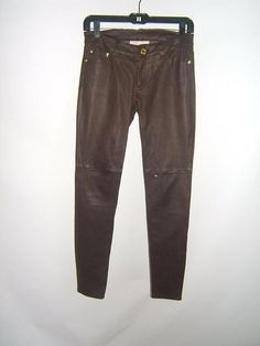 NEW $595 MICHAEL KORS 0 SEXY Brown Chocolate Leather Womens Skinny Pants NWT #MichaelKors #Leather http://stores.ebay.com/Designer-Shoes-and-More?_dmd=2&_nkw=michael+kors