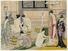 Onna yu (Bathhouse women) 1 print: woodcut, color