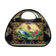 Raineris Black Grecale tote. The Raineris were 18th and 19th century father and son painters of stunning birds and plants.