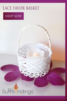 Use lace favor baskets for candles, candy, mini floral arrangements and more. Baskets may be purchased with silk roses for an additional charge. You get 6 baskets and, if you choose, 6 silk roses. #favors #favorbaskets #whitefavors #surroundings.com Floating Candle Centerpieces, Wedding Centerpieces, Wedding Decorations, Table Decorations, Tabletop Accessories, Party Food And Drinks, Silk Roses, Floral Arrangements, Party Favors