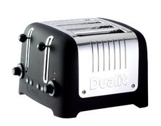 Dualit - Lite Traditional Desing Chunky 4 Slice Toaster in Black - Peek and Pop function allows you to check the bread without cancelling the toasting cycle. Bagel function toasts one side and warms the other. Specialty Appliances, Small Appliances, Kitchen Appliances, Kitchen Gadgets, Kitchens, Dualit Toaster, Online Wedding Registry, Black Toaster, Four Slice Toaster