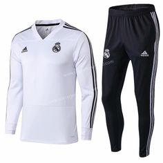 2018-19 Real Madrid White V Neck- 411 Thailand Soccer Tracksuit Uniform 7d5facb69
