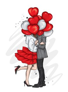 Valentines Art, Happy Valentines Day, Clipart Photo, Art Mignon, Cute Couple Art, Beautiful Couple, Cute Love Pictures, Balloon Shapes, Girly Drawings
